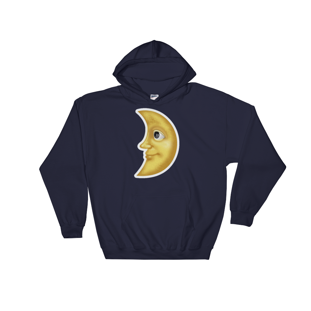 Emoji Hoodie - First Quarter Moon With Face-Just Emoji