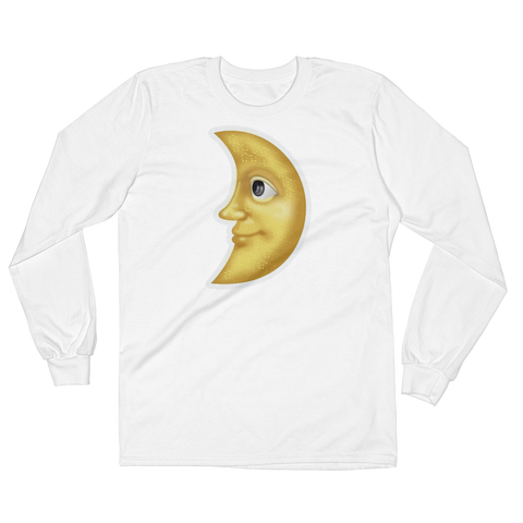 Men's Emoji Long Sleeve T-Shirt - First Quarter Moon With Face-Just Emoji