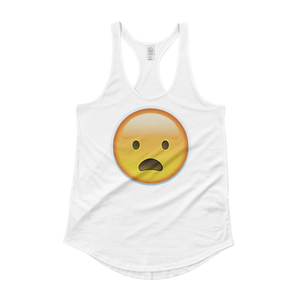 Women's Emoji Tank Top - Frowning Face With Open Mouth-Just Emoji