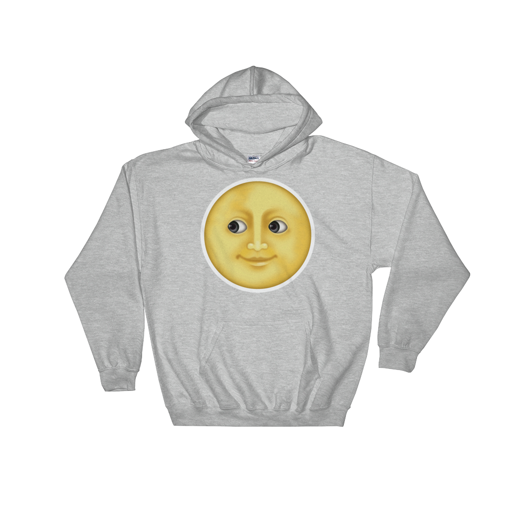 Emoji Hoodie - Full Moon With Face-Just Emoji