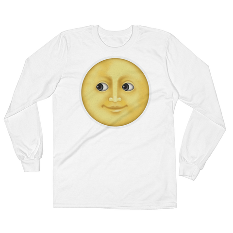 Men's Emoji Long Sleeve T-Shirt - Full Moon With Face-Just Emoji
