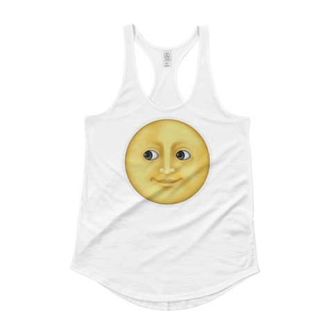 Women's Emoji Tank Top - Full Moon With Face-Just Emoji
