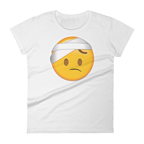 Women's Emoji T-Shirt - Face With Head Bandage-Just Emoji