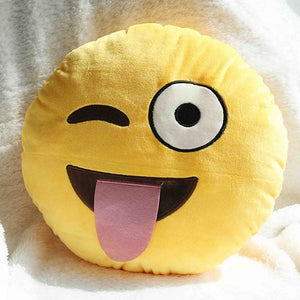 Emoji Shaped Pillow - Face With Stuck Out Tongue And Winking Eye-Just Emoji