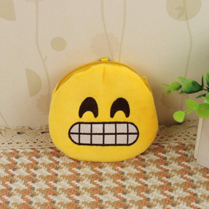 Emoji Coin Purse - Grinning Face With Smiling Eyes-Just Emoji