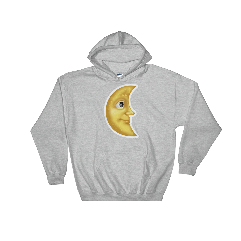 Emoji Hoodie - Last Quarter Moon With Face-Just Emoji