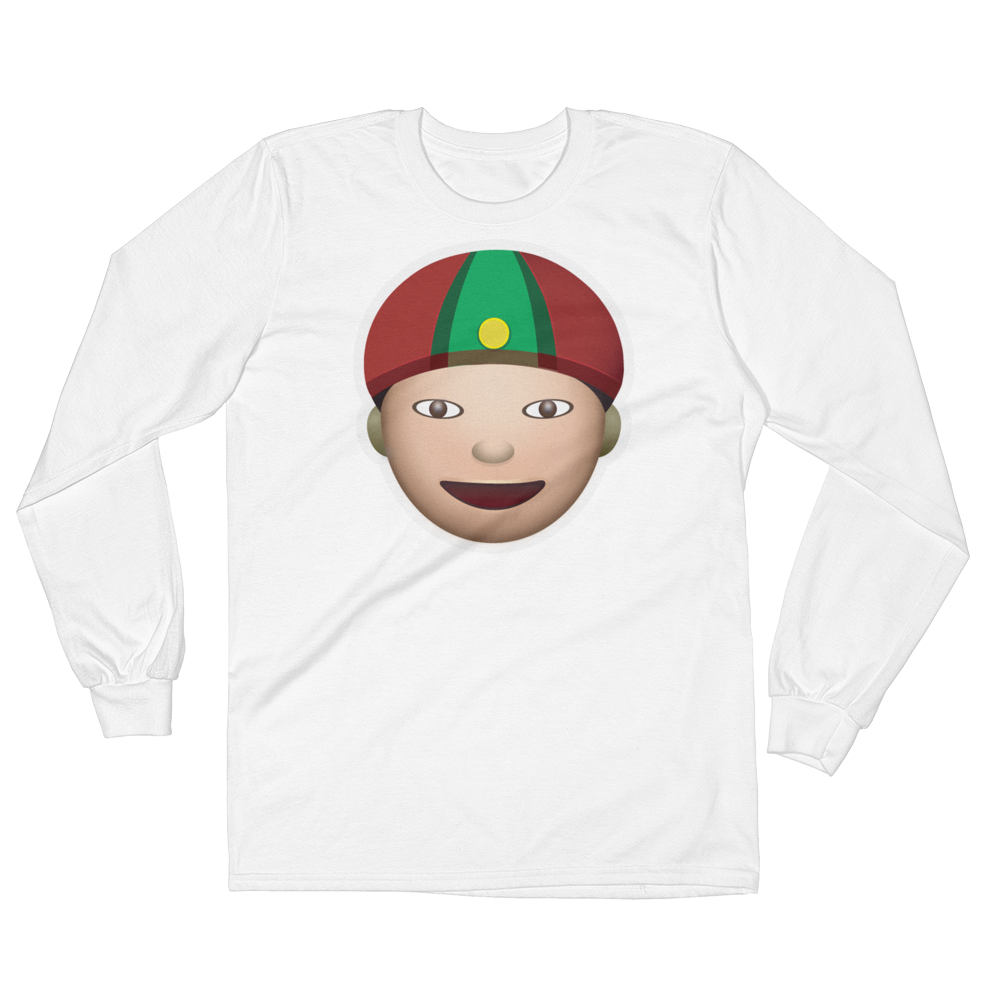 Men's Emoji Long Sleeve T-Shirt - Man With Gua Pi Mao-Just Emoji