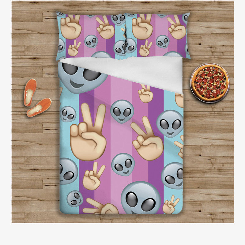 Emoji Bedding - Peace Alien-Just Emoji