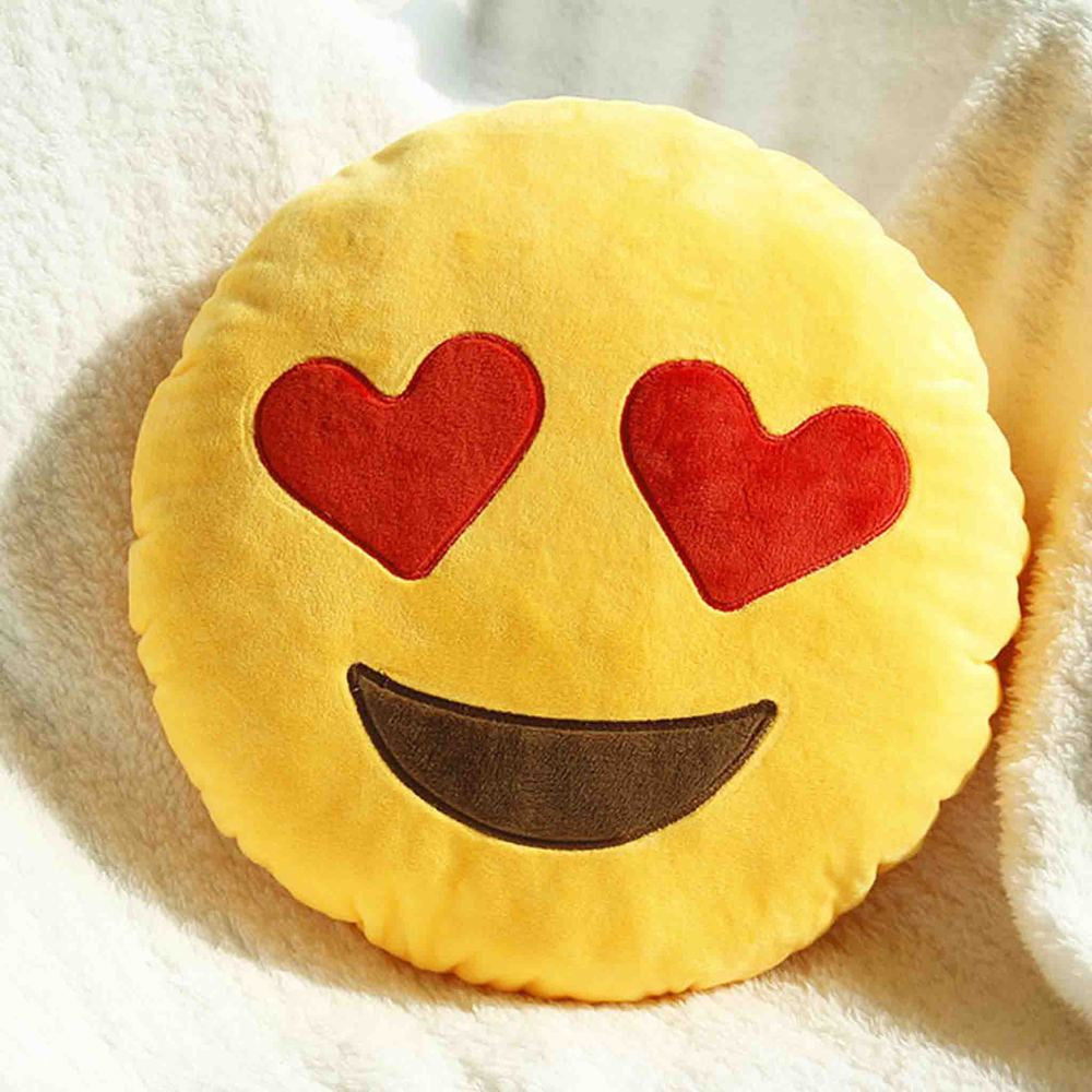 Emoji Shaped Pillow - Smiling Face With Heart Shaped Eyes-Just Emoji