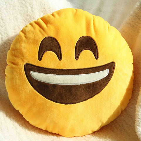 Emoji Cushion - Smiling Face With Open Mouth And Smiling Eyes-Just Emoji
