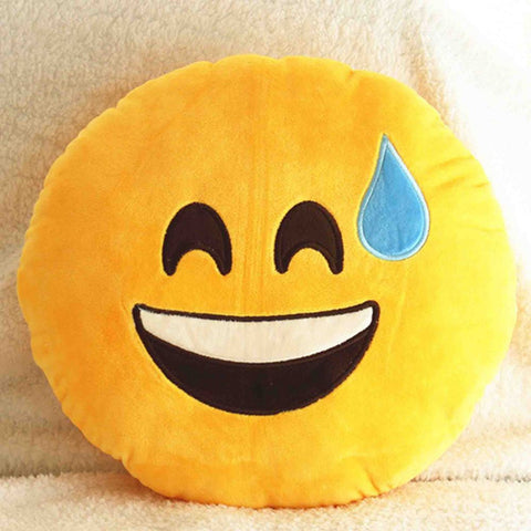 Emoji Cushion - Smiling Face With Open Mouth And Cold Sweat-Just Emoji