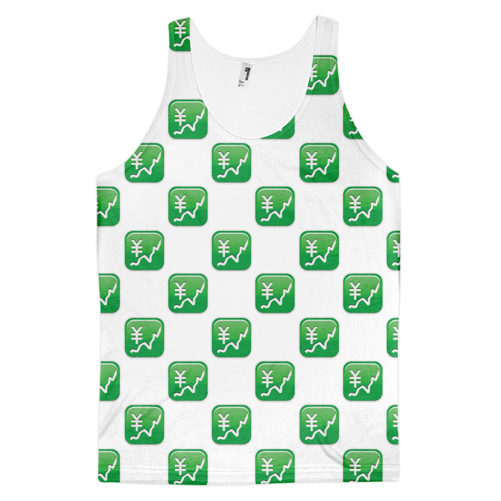 All Over Emoji Tank Top - Chart With Upwards Trend And Yen Sign-Just Emoji