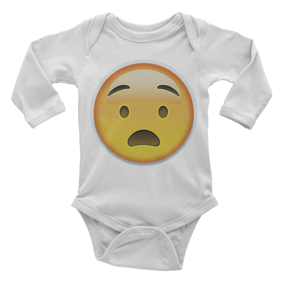 Emoji Baby Long Sleeve One Piece - Anguished Face-Just Emoji