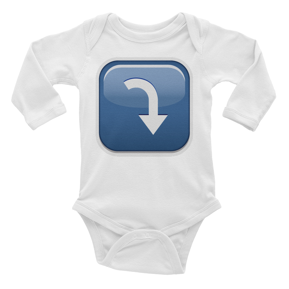 Emoji Baby Long Sleeve One Piece - Arrow Pointing Rightwards Then Curving Downwards-Just Emoji