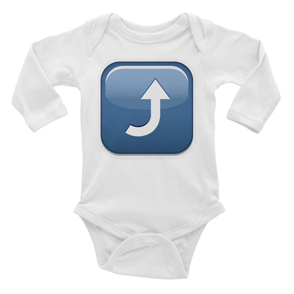 Emoji Baby Long Sleeve One Piece - Arrow Pointing Rightwards Then Curving Upwards-Just Emoji