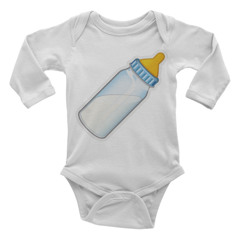 Emoji Baby Long Sleeve One Piece - Baby Bottle-Just Emoji