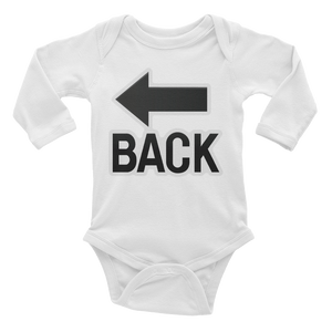 Emoji Baby Long Sleeve One Piece - Back With Leftwards Arrow Above-Just Emoji