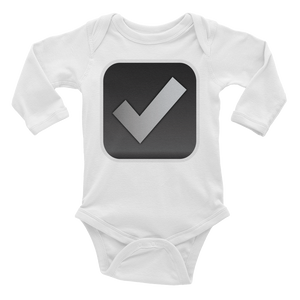 Emoji Baby Long Sleeve One Piece - Ballot Box With Check-Just Emoji