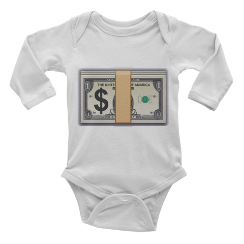 Emoji Baby Long Sleeve One Piece - Banknote With Dollar Sign-Just Emoji