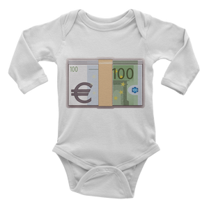 Emoji Baby Long Sleeve One Piece - Banknote With Euro Sign-Just Emoji