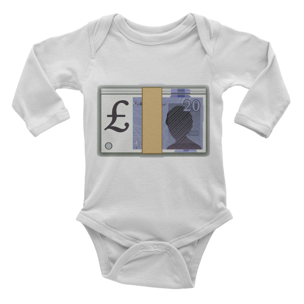 Emoji Baby Long Sleeve One Piece - Banknote With Pound Sign-Just Emoji