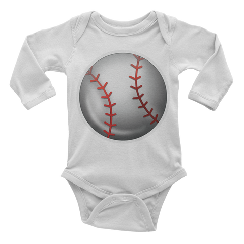 Emoji Baby Long Sleeve One Piece - Baseball-Just Emoji