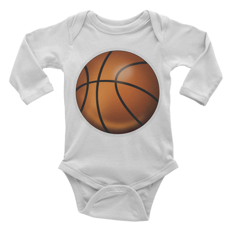 Emoji Baby Long Sleeve One Piece - Basketball-Just Emoji