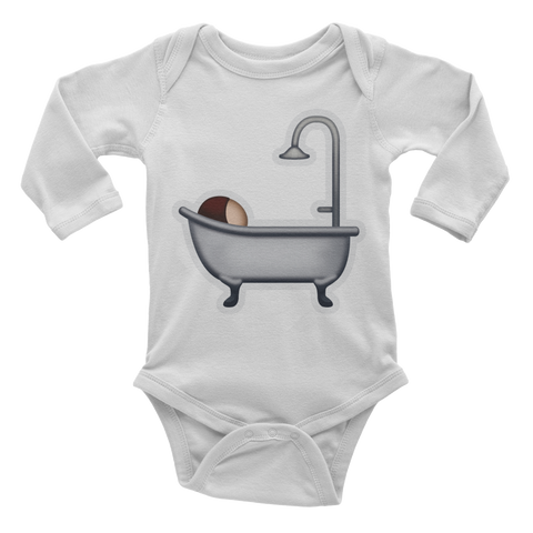 Emoji Baby Long Sleeve One Piece - Bath-Just Emoji