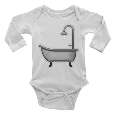 Emoji Baby Long Sleeve One Piece - Bathtub-Just Emoji
