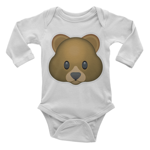Emoji Baby Long Sleeve One Piece - Bear Face-Just Emoji