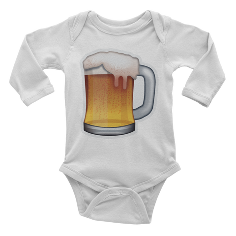 Emoji Baby Long Sleeve One Piece - Beer Mug-Just Emoji