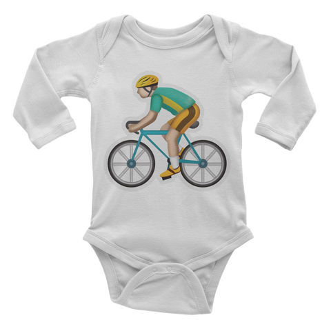 Emoji Baby Long Sleeve One Piece - Bicyclist-Just Emoji