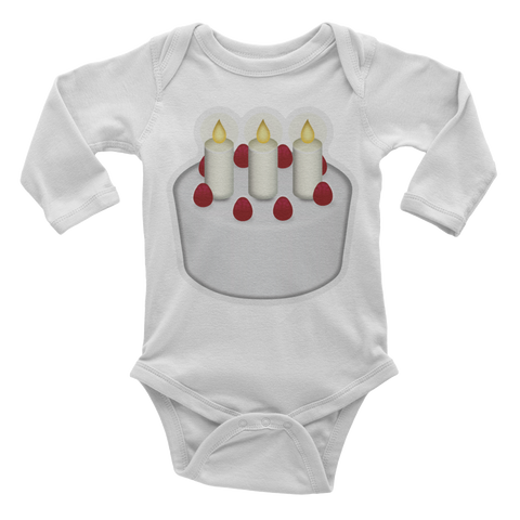 Emoji Baby Long Sleeve One Piece - Birthday Cake-Just Emoji