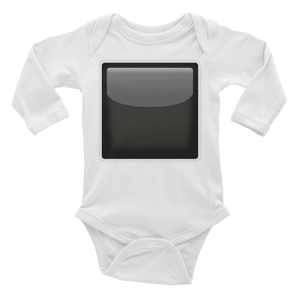Emoji Baby Long Sleeve One Piece - Black Square Button-Just Emoji