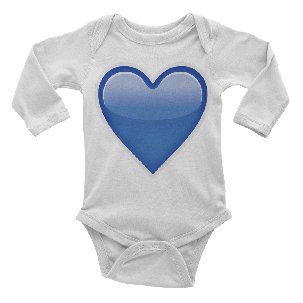 Emoji Baby Long Sleeve One Piece - Blue Heart-Just Emoji