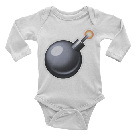 Emoji Baby Long Sleeve One Piece - Bomb-Just Emoji
