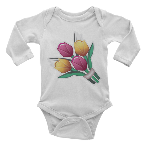 Emoji Baby Long Sleeve One Piece - Bouquet-Just Emoji
