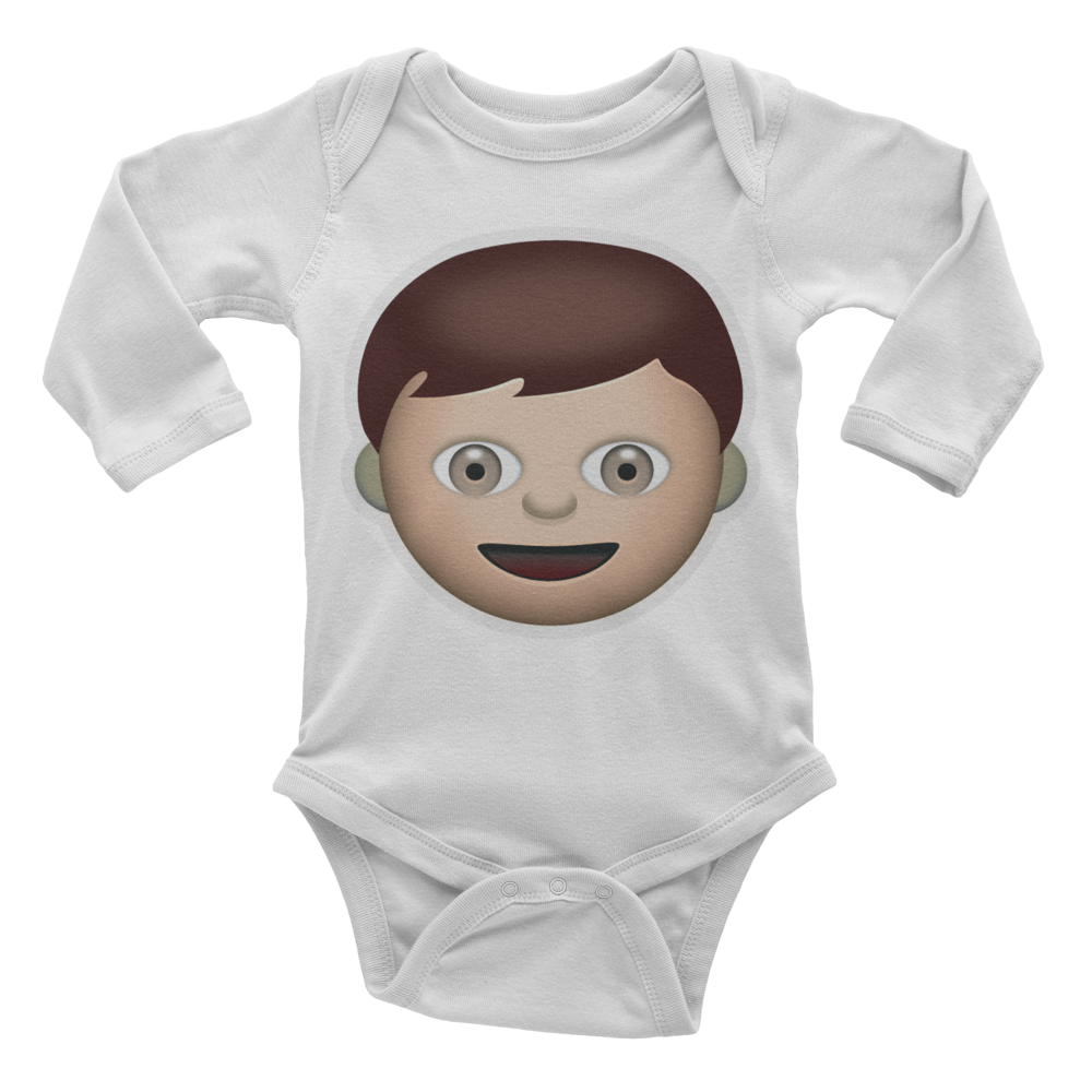 Emoji Baby Long Sleeve One Piece - Boy-Just Emoji