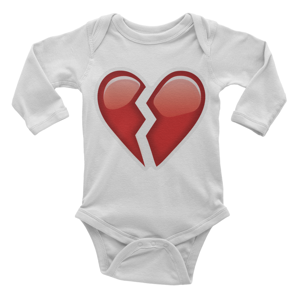 Emoji Baby Long Sleeve One Piece - Broken Heart-Just Emoji