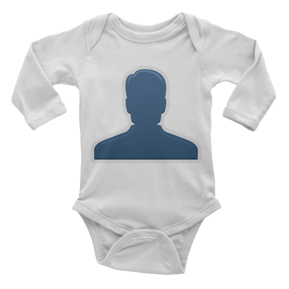 Emoji Baby Long Sleeve One Piece - Bust In Silhouette-Just Emoji