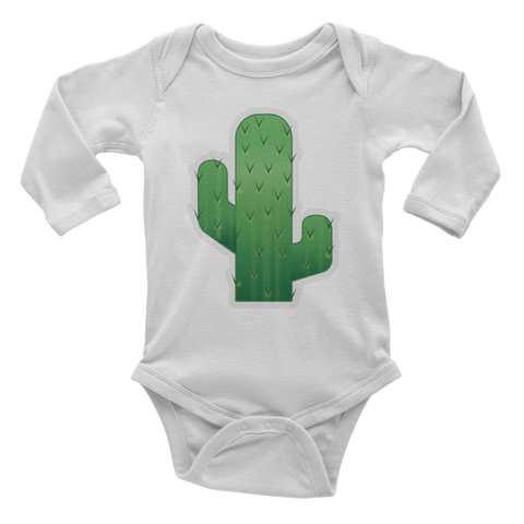 Emoji Baby Long Sleeve One Piece - Cactus-Just Emoji
