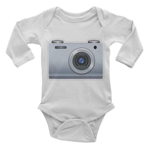 Emoji Baby Long Sleeve One Piece - Camera-Just Emoji
