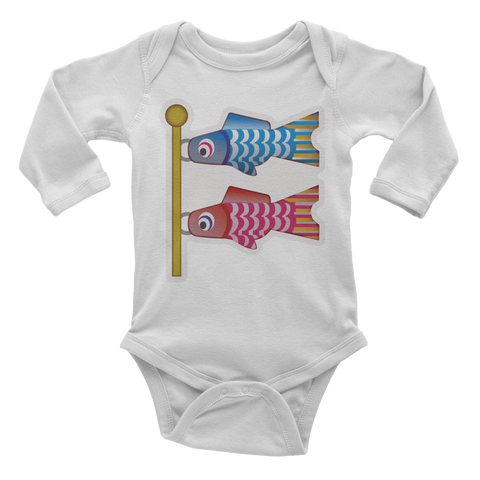 Emoji Baby Long Sleeve One Piece - Carp Streamer-Just Emoji