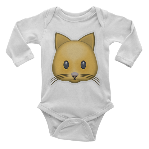 Emoji Baby Long Sleeve One Piece - Cat Face-Just Emoji