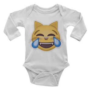 Emoji Baby Long Sleeve One Piece - Cat Face With Tears Of Joy-Just Emoji