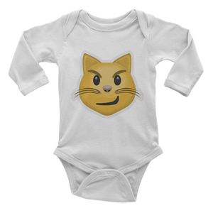 Emoji Baby Long Sleeve One Piece - Cat Face With Wry Smile-Just Emoji
