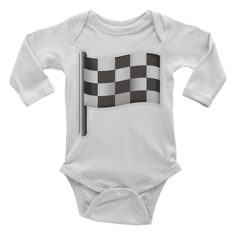 Emoji Baby Long Sleeve One Piece - Checkered Flag-Just Emoji