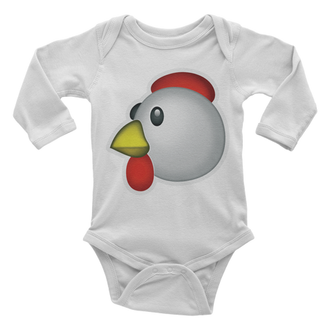 Emoji Baby Long Sleeve One Piece - Chicken-Just Emoji