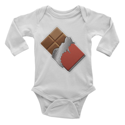 Emoji Baby Long Sleeve One Piece - Chocolate Bar-Just Emoji