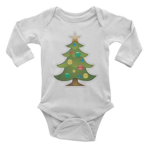 Emoji Baby Long Sleeve One Piece - Christmas Tree-Just Emoji